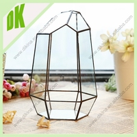 Glass terrarium plant -hanging home and garden decoration, 30cm high clear Slanted geometric hanging glass flower vase