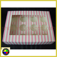 Custom design Striped Cupcake Packaging Box