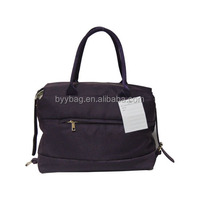 Popular high quality purple microfiber shoulder bagwith zipper pocket,simple and cheap shoulder bag
