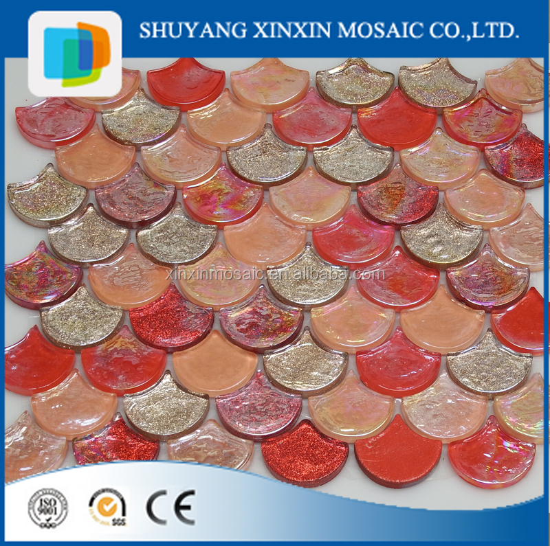 Luxury hotel decoration material fish scale mosaic tile for Fish scale coke prices