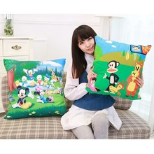 2015 new square cartoon pillow cushion filling with cotton for children