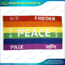 Rainbow with peace international flags