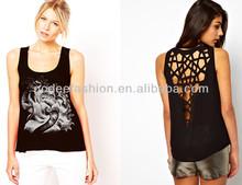 2014 godeefashion la pantalla de seda de impresión sexy espalda abierta camisetas de tirantes