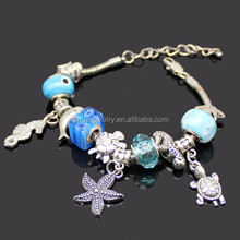 Hot Sale New Ocean Beach Bracelet Handmade Murano Glass Bead European Charm Bracelet Ocean Animal Starfish Turtle Charm Bracelet