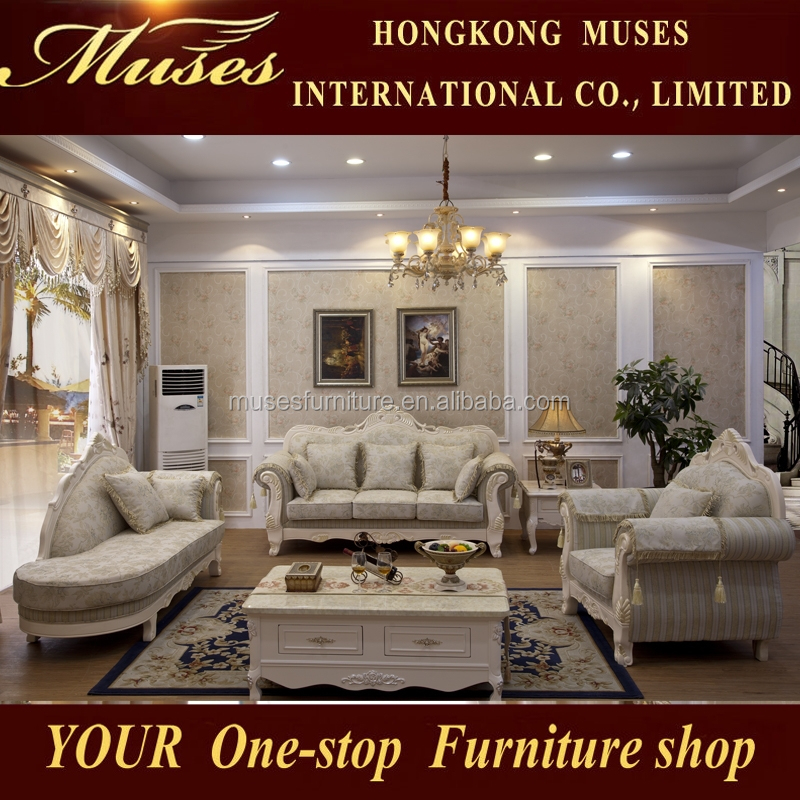 2015 Luxury French Baroque Living Room Sofa Set European Antique Castle Style Exquisite Sofa