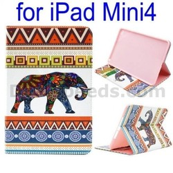 Tribal Style Elephant Pattern Side Flip Stand TPU+ PU Leather Case for iPad Mini 4