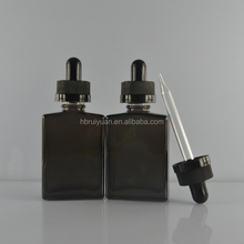 screen printing surface handling child proof dropper sealing type 15ml frosted black rectangle glass bottle for olive oil