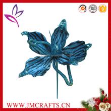 Royal blue velvet fabric Christams decorative artificial lily flower