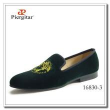 Medusa Brandy Shoes Men Green Velvet Loafers Fashion Slippers Leather Lining