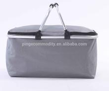 Mejor venta 600D oxford plegable de aluminio de picnic con aislamiento nevera portátil plegable cesta de la compra