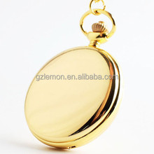 OEM Engraved Gold tone Steel Vintage Antique Style Pocket Watch On Chain