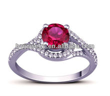 Wholesale Micro Pave Ruby Ring made of 925 sterling silver jewelry