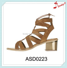 Latest lady golden paillette cover sandals hot sale lady suede upper strap sandals