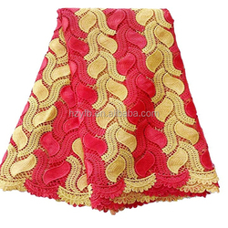 Alibaba wholesale latest party dress embroidered red and gold Nigerian guipure cord lace fabric with high quality