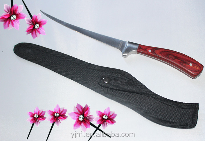 "Wholesale fillet knife stainless steel wooden handle insulation handle 7"" blade knife with nylon sheath fish cutter"