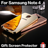 Mirror Case for Note4 Luxury Metal Frame Bumper Aluminum Acrylic Mobile Phone Cover Shell Cases for Samsung Galaxy Note 4 N9100