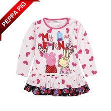 2014 niños ropa de bebé de peppa pig ropa niña flor de la impresión del corazón de retazos de la princesa 6717 vestidos