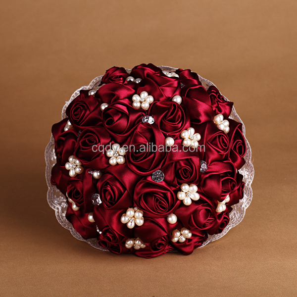 2015 latest design hand made red rose flower bouquet with pearl ...