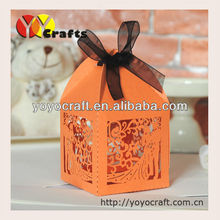 laser cut party favor gift boxes, laser cut wedding boxes with ribbon quick process