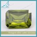 requintado solta octagon azeitona verde cubic zirconia