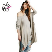 HAODUOYI 2015 Women Loose Fit Casual Cloak Style Long Sleeve Cotton Wide T-shirts with Split for Wholesale Haoduoyi