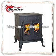 estufa de leña de madera antigua chimenea de doble puerta