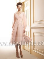 S1233 Amazing v neck long sleeve chiffon mother of the bride dress hot pink