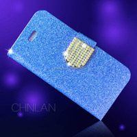 Hot selling with luxury diamond button shiny powder glitter bling wallet case for iphone 6 can mix color