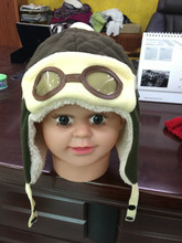 3-6 years promotional lovely baby customized brown cartoon fleece hat with fleece earmuff&PVC glass
