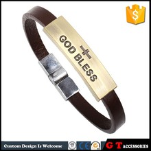 New Arrive Religion Jewelry God Bless Letter Bracelet With Cross, Leather Bracelet Magnetic Clasp