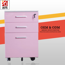 Office staff use 3 drawer pedestal metal filing cabinet under desk