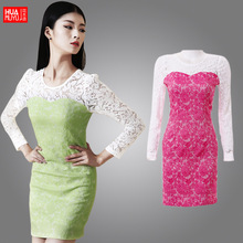 2015 Spring flowers language Special counter genuine jacquard round neck lace dress skirt bottoming package Free Agent