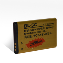 Black market mobile phones Phone Accessory Factory 2450mAh BL-5C gold battery for nokia mobile phone 3.7v rechargeable battery
