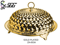 Gold Plated Buffet Plate With Cover / Metal Dome With Plate For Dinner