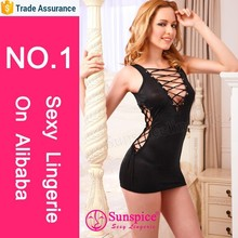 Wholesale lady satin mini dress front and side lace up lace sexy satin lingerie pics