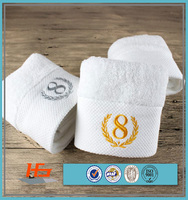 100% cotton wholesale white customized logo embroidered bath towels