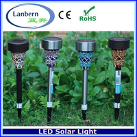2016 Mosaics Stainless steel white color with OEM pattern for outdoor solar led garden spike light JD-142A