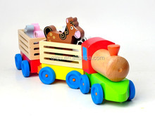 Preschool Educational Blocks Wooden Gift Toys Train Farm Block Train