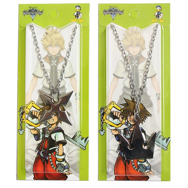 Kingdom Hearts Sora Crown Roxas Cross Metal Necklace Keyblade Pandent 2pcs Set