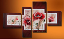 beautiful poppy flower painting printing / poppy oil painting on canvas