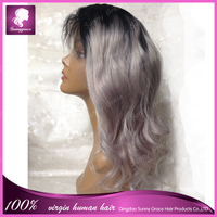 Silver gray ombre color human hair full lace wig with body wave Full lace wigs human Brazilian hair with baby hair