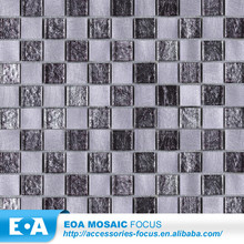 Bedroom/Children Room Floor Square Silver Alloy Mix Flower Pattern Glass Mosaic Tile