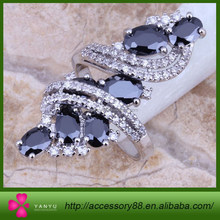 Flashion Long Ring,Black Crystal 925 Sterling Silver Overlay Ring For Women