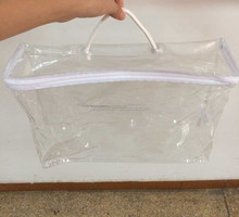 Clear PVC plastic bag rope handle on top with zipper for bedding