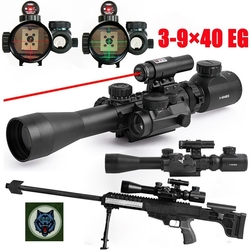 SPIKE Tactical 3-9x40mm riflescope illuminated rifle scopes with red laser & red dot sight red &green reticle