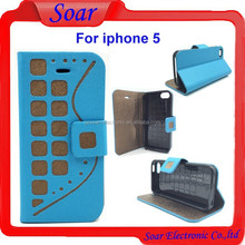 New fashion design case for iphone 5,check pattern leather case for iphone 5,flip cover case for iphone 5 with card slot