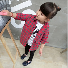 new children's clothing girls spring red plaid shirt literary classic children's long-sleeved shirt and long sections