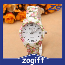 ZOGIFT ceramic strap new fashion geneva flower watch for ladies