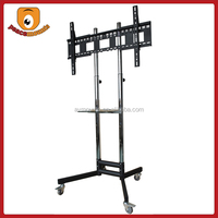 ST1800 Silver movealbe High Quality Factory Selling Trolley tv stand with DVD Tray and four Wheels tv stand for led tv