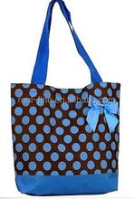 NEW Blue and Brown Polka Dot Tote Beach Bag handbags